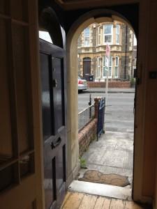 open door look  into street